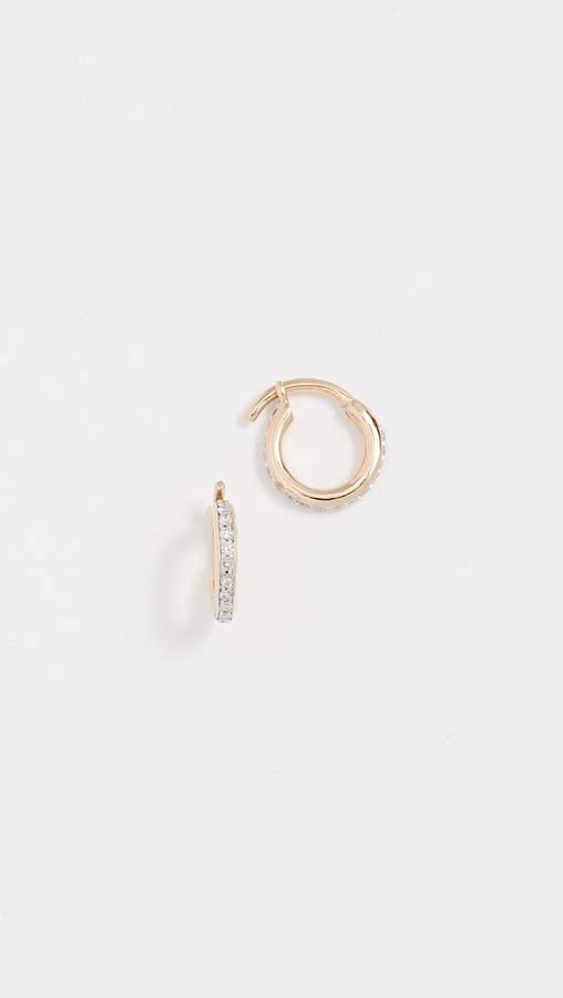 Adina 14k Gold Pave Huggie Hoop Earrings