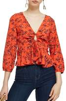 Topshop Betty Floral Print Keyhole Blouse