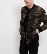 New Look Green Camo Print Bomber Jacket