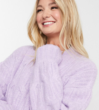 Urban Bliss Maternity balloon sleeve cable knit jumper in light purple
