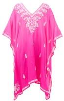 Juliet Dunn Embroidered Silk Kaftan - Womens - Pink