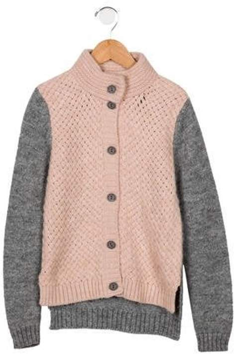 Miss Blumarine Girls' Alpaca-Blend Cardigan grey Girls' Alpaca-Blend Cardigan