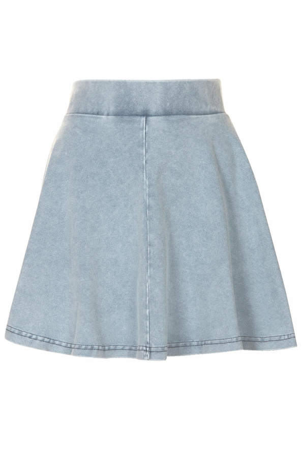 Topshop Petite skater skirt with elasticated waist in denim-look fabric 65% cotton,25% polyester,10% elastane. machine washable.