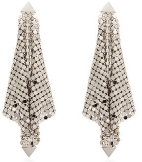 Paco Rabanne Chainmail Mesh Earrings - Womens - Silver
