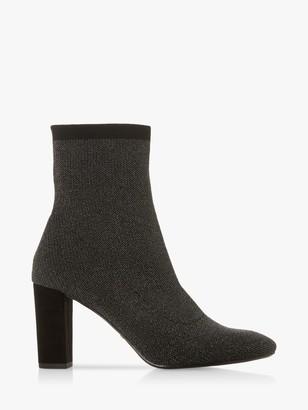 Dune Optical Block Heel Sock Boots, Pewter Metallic
