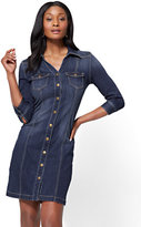 New York & Co. Stretchy Denim Shirtdress - Polished Blue Wash