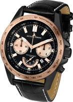 Jacques Lemans Powerchrono 1-1756F 48mm Rose Gold Tone Case Leather Mineral Men's Watch