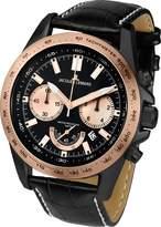Jacques Lemans Powerchrono 1-1756F 48mm Rose Gold Tone Case Leather Mineral Men's Watch