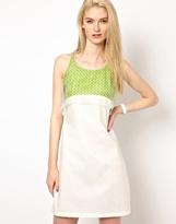 Hussein Chalayan Chalayan Grey Line Chalayan Gray Line Tank Top Dress with Neon Layer - White