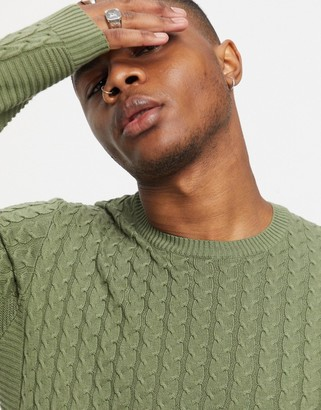 ASOS DESIGN muscle fit lightweight cable jumper in olive