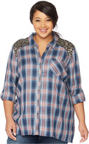 Wendy Bellissimo Maternity Plus Size Sequined Plaid Shirt