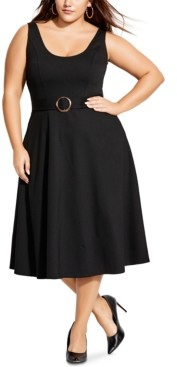 City Chic Trendy Plus Size Belted Midi Fit & Flare Dress