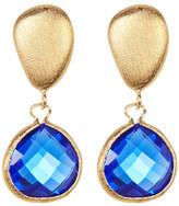 Rivka Friedman 18K Gold Clad Faceted Teardrop Poppy Blue Crystal & Satin Pebble Post Earrings