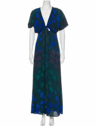 Mara Hoffman Floral Print Long Dress Blue