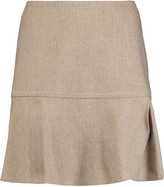 See by Chloe Pleated wrap-effect slub wool-blend mini skirt