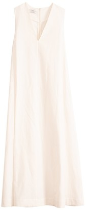 Co Linen Cotton Sleeveless V-Neck Maxi Dress in White