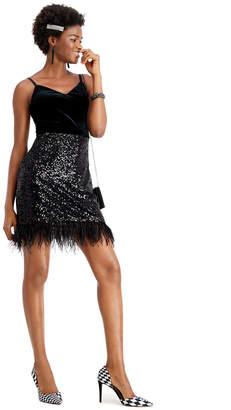 GUESS Velvet Feather-Trim A-Line Dress
