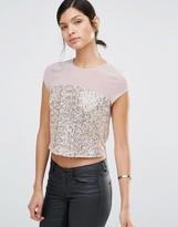Little Mistress Sequin Top With Mesh Insert