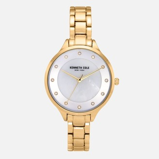 Kenneth Cole Gold Tone Link Bracelet Watch with Crystal Stone Numerals