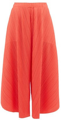 Pleats Please Issey Miyake Curved Pleated Culottes - Womens - Coral