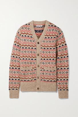 Alex Mill Fair Isle Knitted Cardigan - Camel