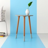 Emory 3 Legs End Table Hashtag Home Color: Gray/Walnut