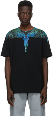 Marcelo Burlon County of Milan Black and Blue Neon Wings T-Shirt