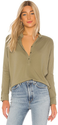 Michael Lauren Glen Long Sleeve Button Front Henley Top