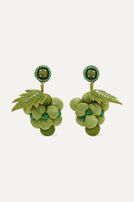Ranjana Khan Silver-tone, Cotton, Bead And Crystal Earrings - Green