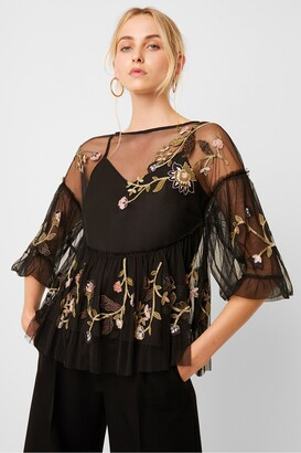 French Connection Etta Embroidered Mesh Top