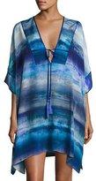 Josie Natori Blue Lagoon Short Silk Caftan, Blue Pattern