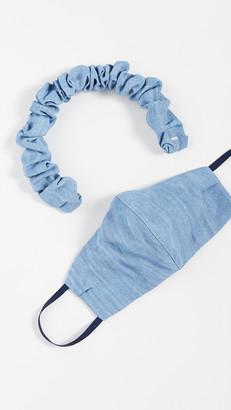 LELET NY Denim Headband and Face Covering Set