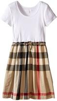 Burberry Rosey Rib Jersey Woven Mix Dress Girl's Dress
