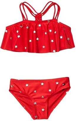 Tommy Hilfiger Foil Star Two-Piece Bikini Swimsuit (Big Kids) (Chinese Red) Girl's Swimwear Sets