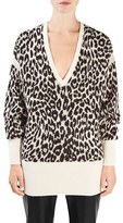 Women's Topshop Unique 'Exhall' Animal Print V-Neck Sweater