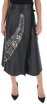 Prada Embellished Wrap Midi Skirt
