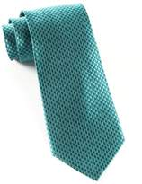 The Tie Bar TheTieBar 100% Woven Silk and Aqua Big Tooth Patterned Tie
