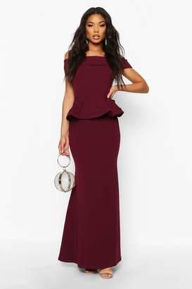 boohoo Bardot Peplum Maxi Dress
