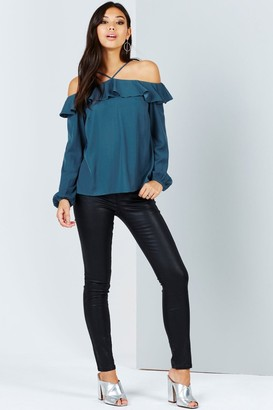 Little Mistress Girls on Film Teal Off The Shoulder Top With Ruffles