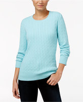Karen Scott Crew-Neck Cable-Knit Sweater, Only at Macy's