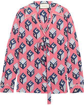 Gucci Embellished Printed Silk Crepe De Chine Blouse - Pink