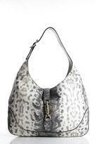 Gucci Grey Animalier Karung Printed Leather Jackie Hobo Handbag