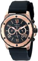 Bulova Men's Designer Chronograph Watch Rubber Strap - Water Resistant Rose Gold Marine Star 98B104
