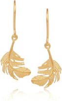 Alex Monroe Feather 22-karat gold-plated earrings