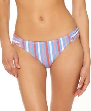 Jessica Simpson Miami Stripe Printed Shirred Hipster Bikini Bottoms Women's Swimsuit