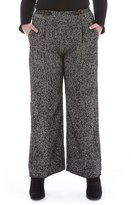 Plus Size Women's Elvi Tweed Wide Leg Trousers