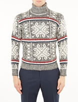 Thom Browne Grey Fair Isle Knit Turtleneck Sweater