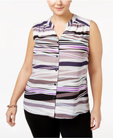 Nine West Plus Size Animal-Print Blouse