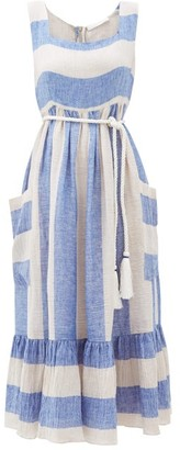 Binetti Love Sunny Striped Linen Midi Dress - Womens - Blue Stripe