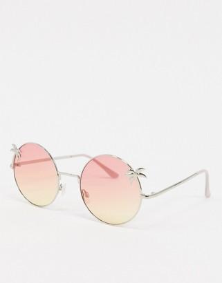 A. J. Morgan Aj Morgan AJ Morgan round sunglasses with palm tree detail in pink